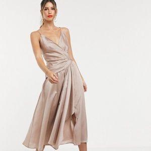 ASOS DESIGN textured wrap cami midi dress size 6